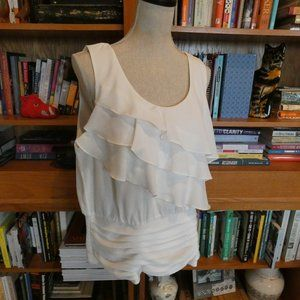 WHBM Sleeveless Tiered Ruffle Blouse - XL